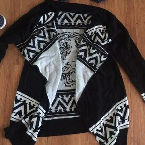 Black white cardigan with tiger on the back
